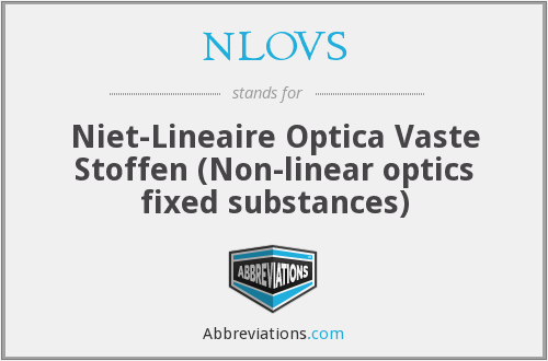NLOVS - Niet-Lineaire Optica Vaste Stoffen (Non-linear optics fixed substances)