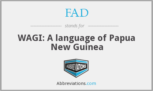 FAD - WAGI: A language of Papua New Guinea