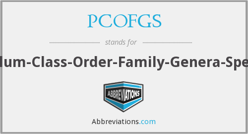 PCOFGS - Phylum-Class-Order-Family-Genera-Species