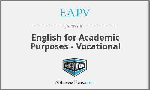 EAPV - English for Academic Purposes - Vocational