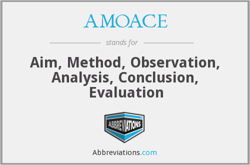 AMOACE - Aim, Method, Observation, Analysis, Conclusion, Evaluation