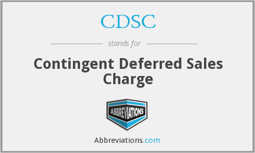 CDSC - Contingent Deferred Sales Charge