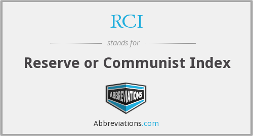 RCI - Reserve or Communist Index