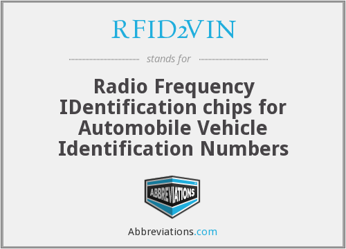 What does RFID2VIN stand for?