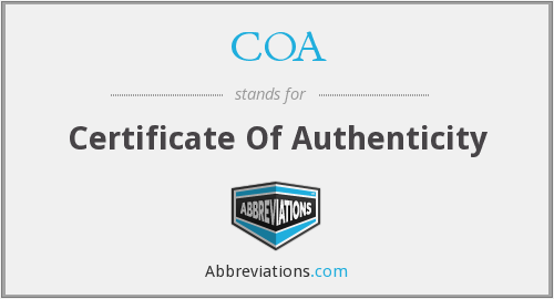 COA - Certificate Of Authenticity