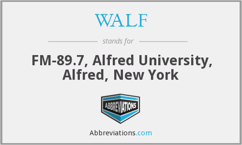 WALF - FM-89.7, Alfred University, Alfred, New York