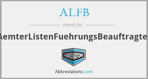 ALFB - AemterListenFuehrungsBeauftragter