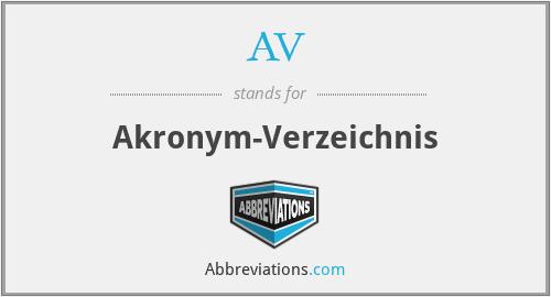 AV - Akronym-Verzeichnis
