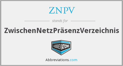 ZNPV - ZwischenNetzPräsenzVerzeichnis
