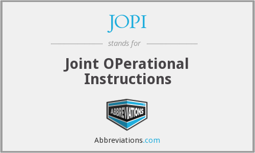 JOPI - Joint OPerational Instructions