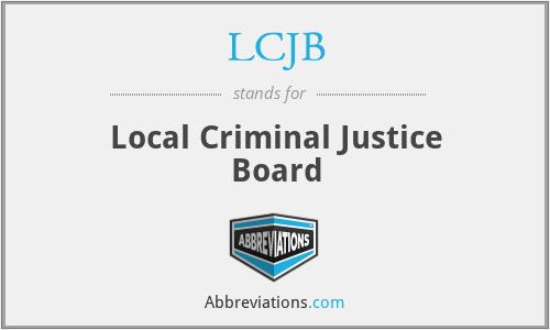 LCJB - Local Criminal Justice Board