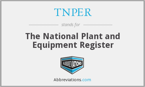 TNPER - The National Plant and Equipment Register