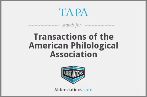 TAPA - Transactions of the American Philological Association