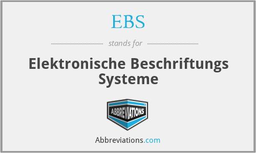 EBS - Elektronische Beschriftungs Systeme