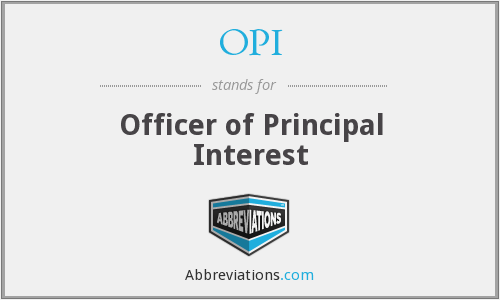 OPI - Officer of Principal Interest