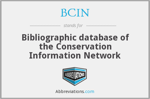 BCIN - Bibliographic database of the Conservation Information Network