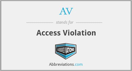 AV - Access Violation