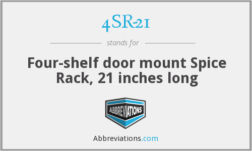 4SR-21 - Four-shelf door mount Spice Rack, 21 inches long