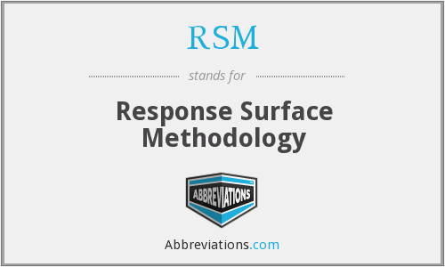 RSM - Response Surface Methodology