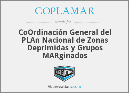 COPLAMAR - CoOrdinación General del PLAn Nacional de Zonas Deprimidas y Grupos MARginados