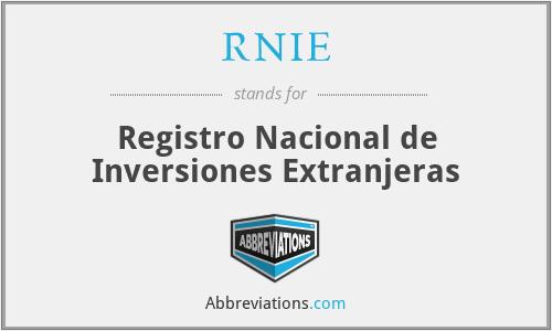 RNIE - Registro Nacional de Inversiones Extranjeras