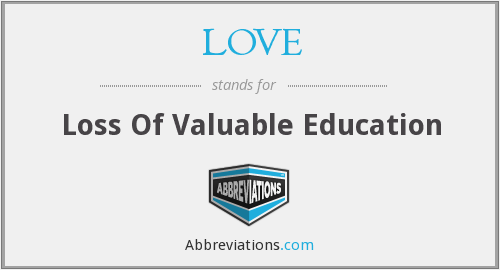 LOVE - Loss Of Valuable Education