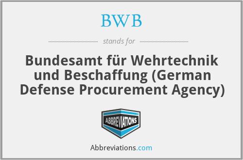 BWB - Bundesamt für Wehrtechnik und Beschaffung (German Defense Procurement Agency)