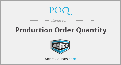POQ - Production Order Quantity
