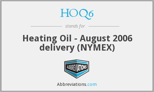 HOQ6 - Heating Oil - August 2006 delivery (NYMEX)