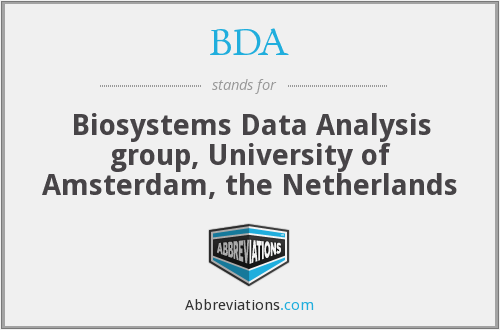 BDA - Biosystems Data Analysis group, University of Amsterdam, the Netherlands