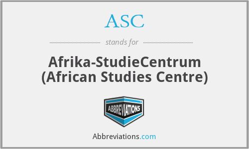 ASC - Afrika-StudieCentrum (African Studies Centre)