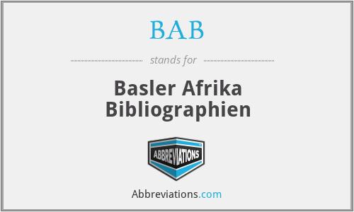 BAB - Basler Afrika Bibliographien