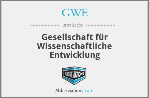 GWE - Gesellschaft für Wissenschaftliche Entwicklung