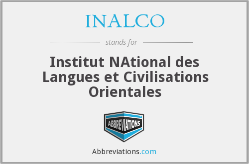 INALCO - Institut NAtional des Langues et Civilisations Orientales