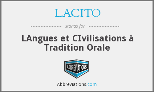 LACITO - LAngues et CIvilisations à Tradition Orale