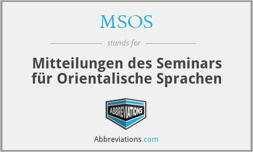 MSOS - Mitteilungen des Seminars für Orientalische Sprachen