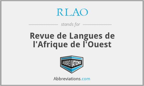 RLAO - Revue de Langues de l'Afrique de l'Ouest