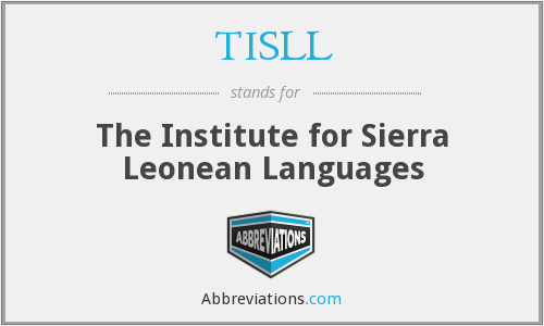 TISLL - The Institute for Sierra Leonean Languages