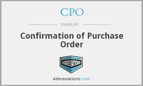 CPO - Confirmation of Purchase Order