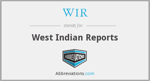 WIR - West Indian Reports