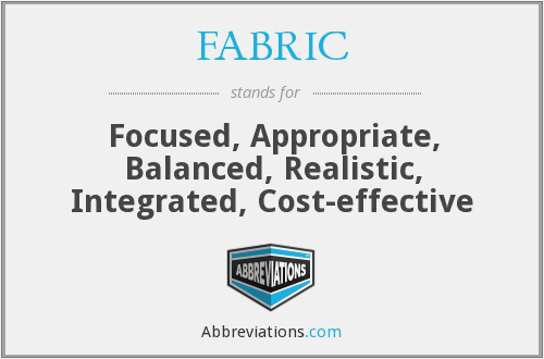 FABRIC - Focused, Appropriate, Balanced, Realistic, Integrated, Cost-effective