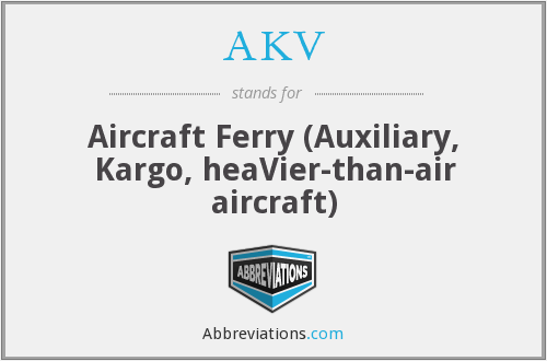 AKV - Aircraft Ferry (Auxiliary, Kargo, heaVier-than-air aircraft)