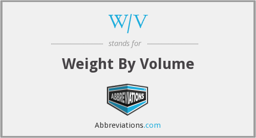 W/V - Weight By Volume