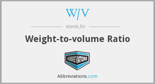 W/V - Weight-to-volume Ratio