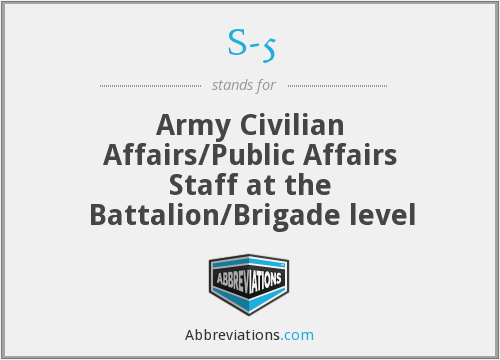 S-5 - Army Civilian Affairs/Public Affairs Staff at the Battalion/Brigade level