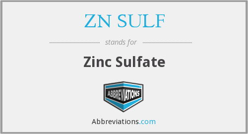 What does ZN SULF stand for?
