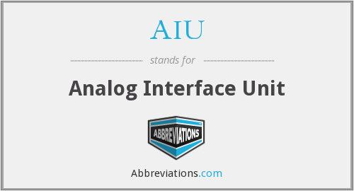 AIU - Analog Interface Unit