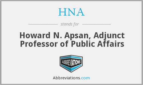 HNA - Howard N. Apsan, Adjunct Professor of Public Affairs