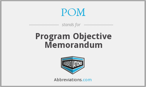 POM - Program Objective Memorandum