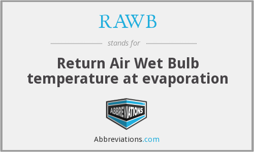 RAWB - Return Air Wet Bulb temperature at evaporation